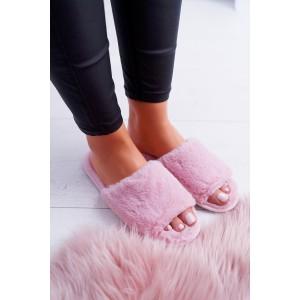 Ružové dámske papuče s otvorenou špičkou