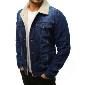 Pánska zateplená rifľová bunda v modrej farbe so zapínaním na cvoky