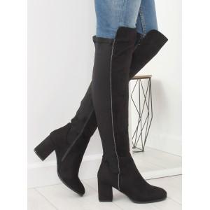 Vysoké semišové čižmy nad kolená čiernej farby