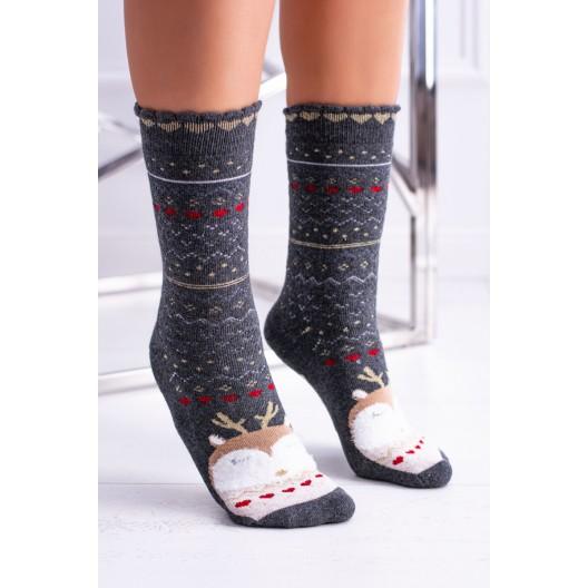 Vianočné ponožky v sivej farbe so vzorom sovičky