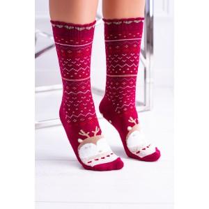 Červené dámske ponožky s vianočným motívom sovy