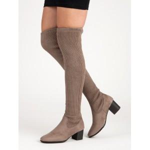 Originálne dámske semišové béžové čižmy nad kolená