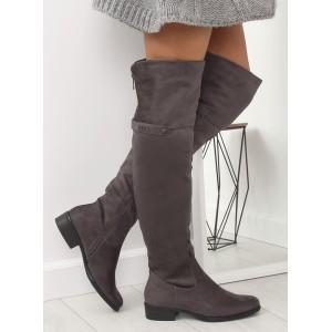Štýlové dámske čižmy nad kolená s ozdobným zadným zipsom a prackou