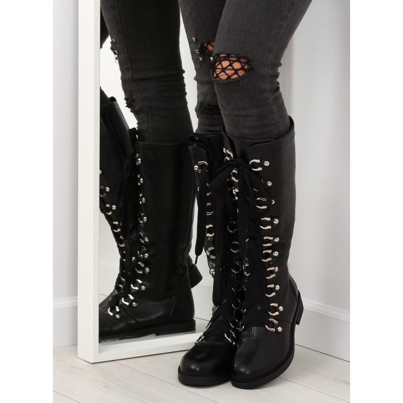 Originálne dámske čierne šnurovacie čižmy v rockovom štýle 2f290325789