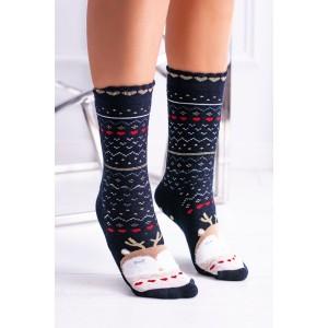 Modré dámske vianočné ponožky s rozprávkovým motívom