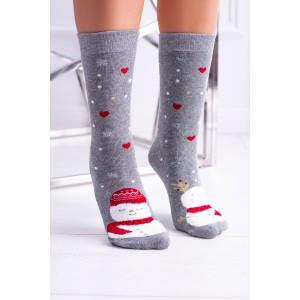 Sivé vianočné ponožky so snehuliakom