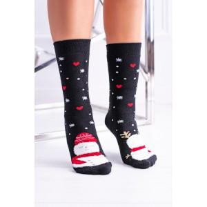 Čierne ponožky s motívom srdiečok na vianoce
