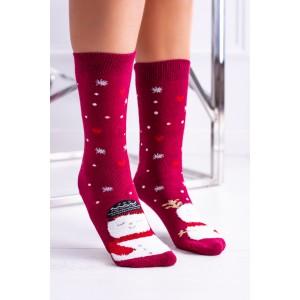 Vianočné dámske ponožky v červenej farbe so snehuliakom