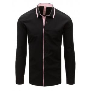 Čierna pánska košeľa slim fit s dlhým rukávom