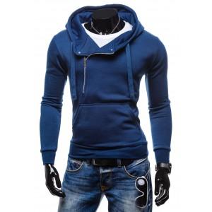 Mikina ktorá vám sadne modrej farby so zipsom a vreckom