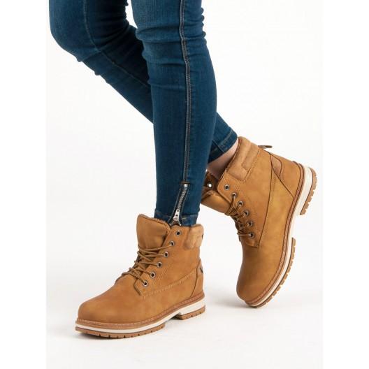 Dámske worker topánky svetlo hnedej farby