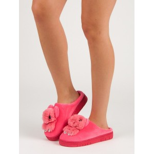 Originálne dámske tmavo ružové papuče na platforme s motívom zajaca