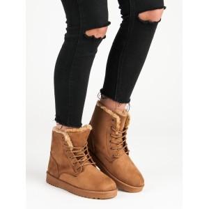 Hnedé dámske worker topánky na zimu