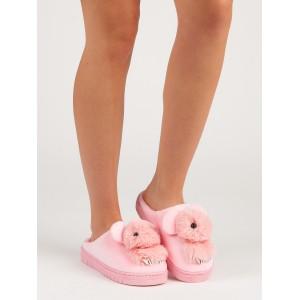 Ružové nasúvacie dámske papuče na platforme s motívom zvieratka