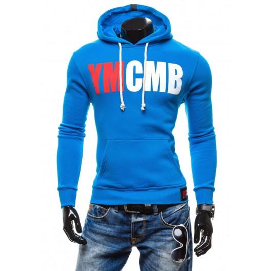 Mikiny s kapucňou pre mužov modrej farby a vreckom