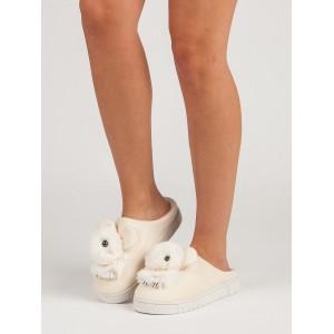 Trendy dámske domáce béžové nasúvacie papuče