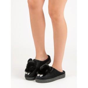 Čierne dámske teplé papuče s motívom zvieratka