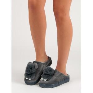 Štýlové dámske domáce nasúvacie papuče v sivej farbe