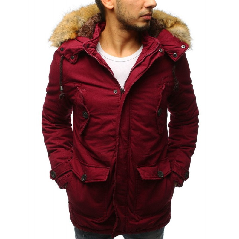 Pánska zimná bunda bordovej farby s kožušinou 590c9be14a4