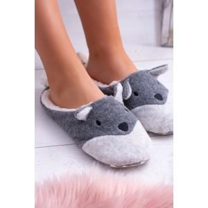 Komfortné dámske sivé papuče s trendy motívom psíka s chvostíkom