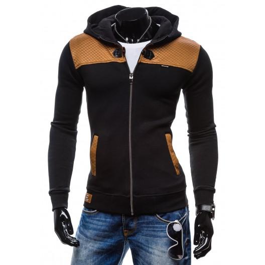 Pánske mikiny pre mužov čierno-hnedej farby so zipsom a kapucňou