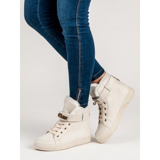 Originálne dámske béžové členkové topánky s ozdobnou prackou  na kľúč