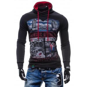 Trendy pánske mikiny s mestským vzorom cierno-červenej farby s kapucňou