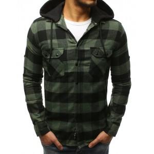 Pánska károvaná košeľa zelenej farby s odnínateľnou kapučňou