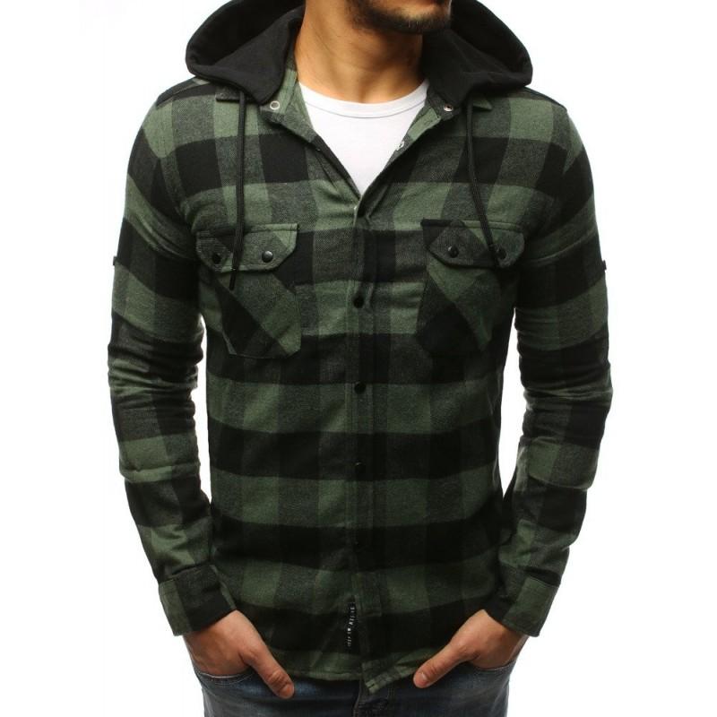 4c35d75942c7 Pánska károvaná košeľa zelenej farby s odnínateľnou kapučňou