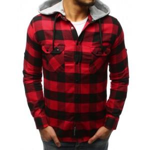 Červená pánska kockovaná košeľa na cvoky s odnímateľnou  kapucňou