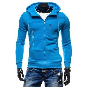 Kvalitné pánske mikiny od renomovaných výrobcov modrej farby s kapucňou a zipsom
