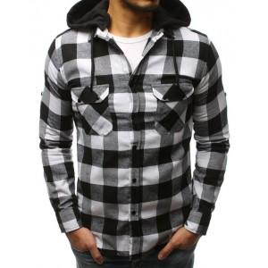 Moderná čierno-biela pánska košeľa s odnímateľnou kapucňou a vreckami