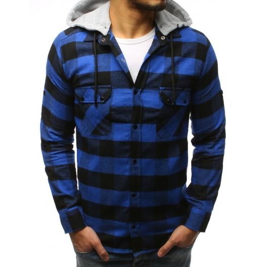 Štýlová pánska modrá károvaná košeľa s odnímateľnou sivou kapucňou