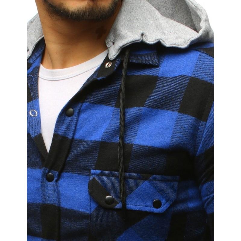 e302a6529111 Štýlová pánska modrá károvaná košeľa s odnímateľnou sivou kapucňou