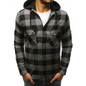 Károvaná sivá pánska košeľa s odnímateľnou kapucňou a trendy vreckami