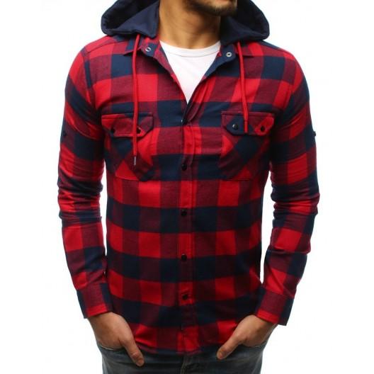 Modro červená károvaná pánska košeľa s kapucňou a zapínaním na cvoky