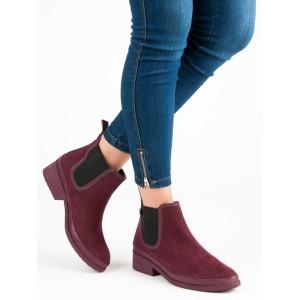 Bordové nasúvacie kotníkové topánky s bočnou gumou