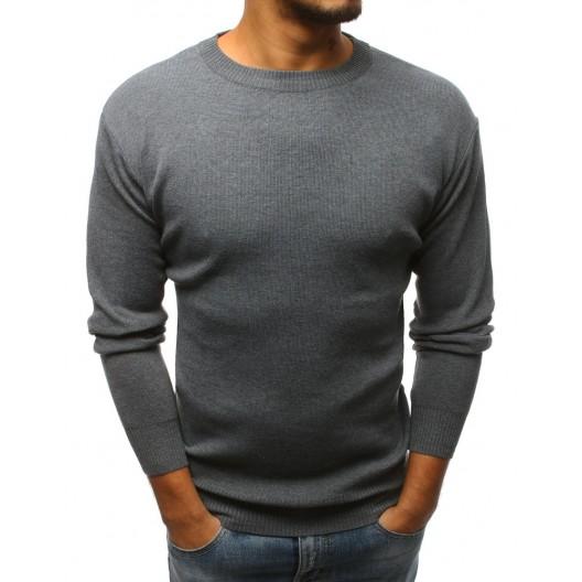 Sivý elegantný sveter pre pánov na zimu