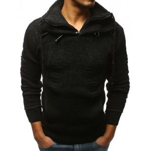 Čierny pánsky zimný sveter s golierom