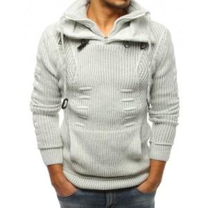 Hrubý pletený pánsky sveter svetlo sivej farby