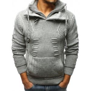 Sivý pánsky pleterný sveter na zimu