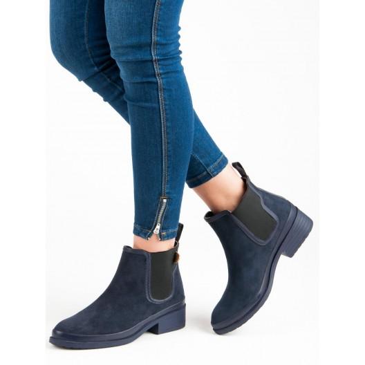 Tmavo modré dámske členkové topánky na jeseň s trendy bočnou gumou
