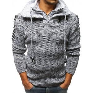 Moderný hrubý pánsky sveter s golierom na zips