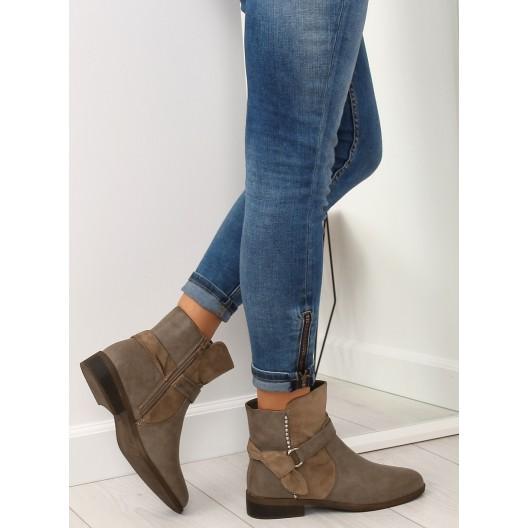 Dámske členkové topánky na zimu hnedej farby