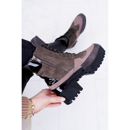 Členkové zimné topánky v zelenej farbe na vysokej podrážke