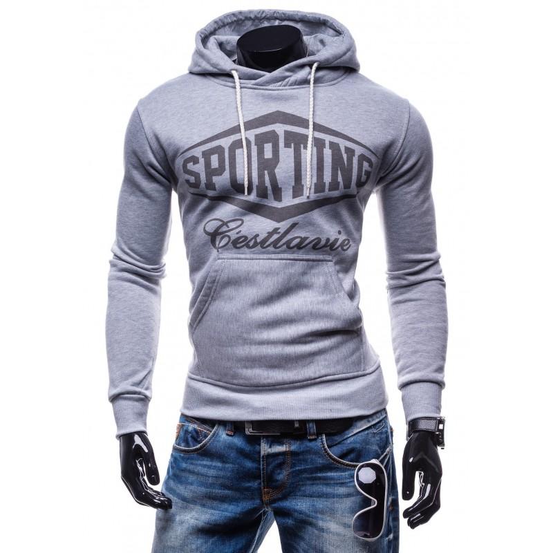 Pánske športové mikiny SPORTING sivej farby s kapucňou - fashionday.eu 3be409b0c3d