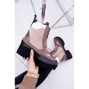 Vysoké dámske zimné topánky v béžovej farbe na šnúrovanie