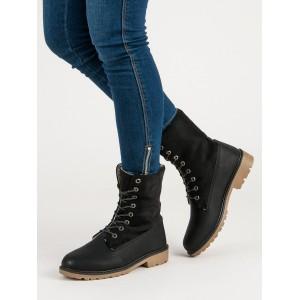 Trendy dámske zateplené čierne workery na šnurovanie