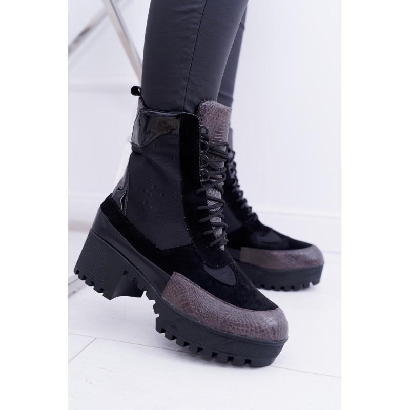 48ea4f7674 Zateplené dámske čierne topánky na vysokej podrážke v čiernej farbe