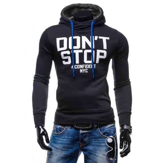 Pánske značkové mikiny s nápisom DON´T STOP čiernej farby s kapucňou
